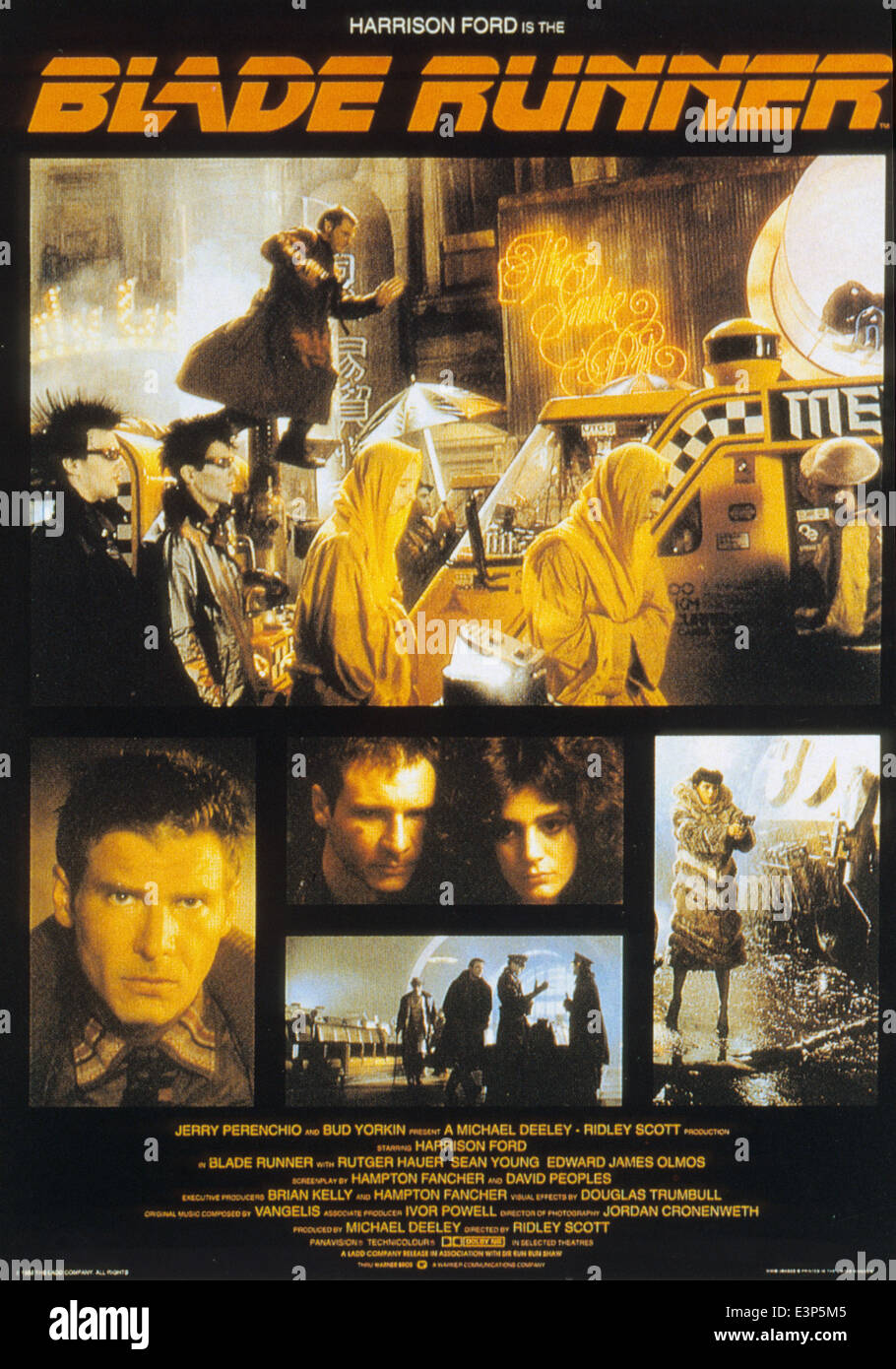 BLADE RUNNER Poster for the 1982 Ladd Company/Warner Bros film with Harrison Ford and Sean Young - Stock Image