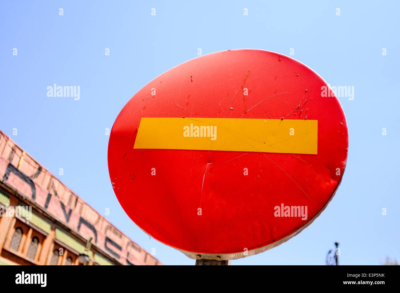 Red and yellow no entry street sign - Stock Image