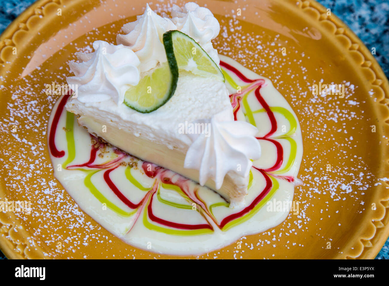 A slice of delicious key lime pie at The Key Lime Bistro in Captiva Island, Florida, USA Stock Photo