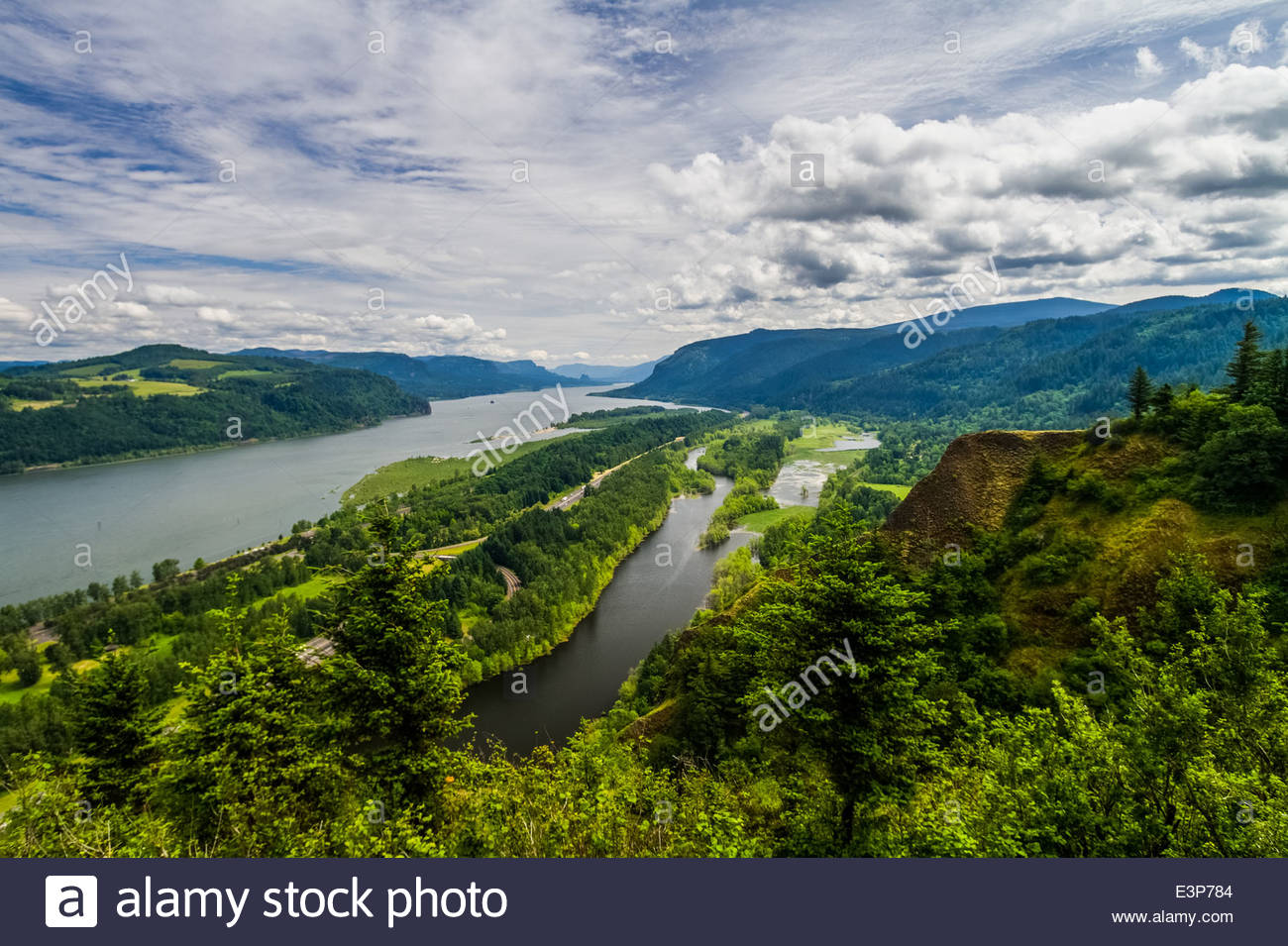 The Columbia River As Seen From Vista House, Oregon, USA, North America - Stock Image