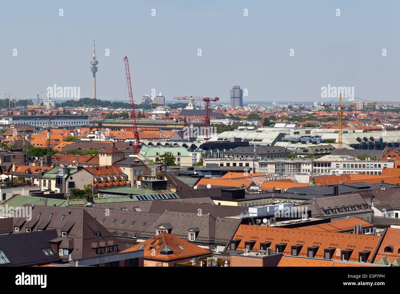Munich aerial view with olympic tower in the background- Munich, Bavaria, Germany, Europe - Stock Image