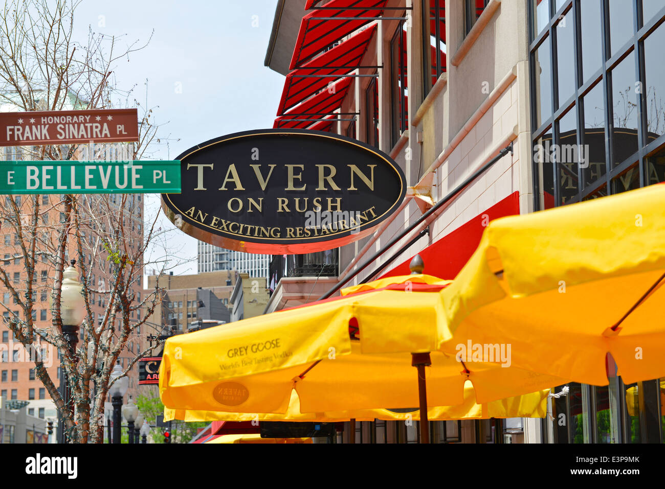 Tavern on Rush, Sign, Restaurant on Rush St. and Bellevue Pl, Chicago, Illinois - Stock Image