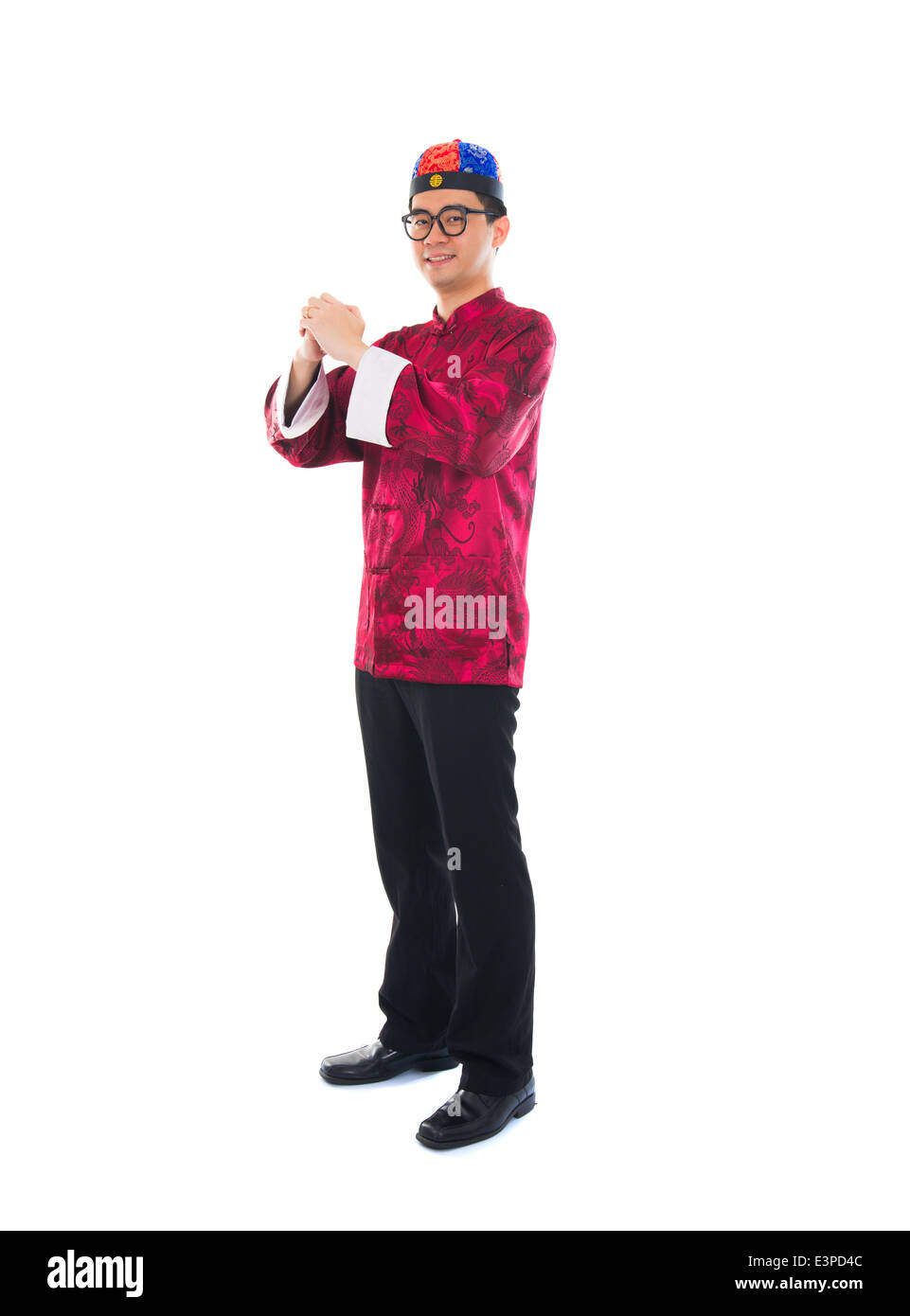 asian male with traditional chinese new year greeting gong xi fa cai