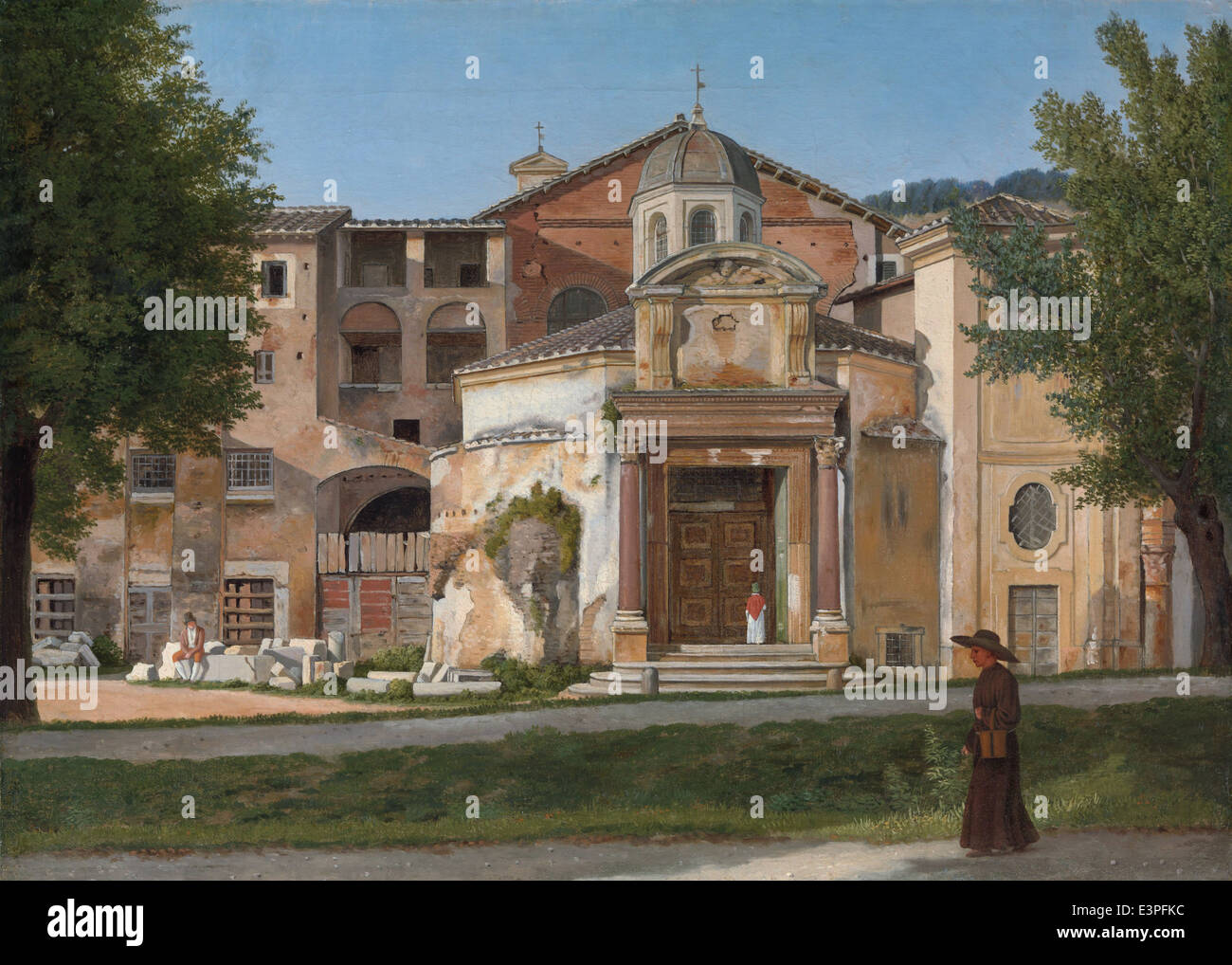 Christoffer Wilhelm Eckersberg - A Section of the Via Sacra, Rome (The Church of Saints Cosmas and Damian) - 1815 - Stock Image