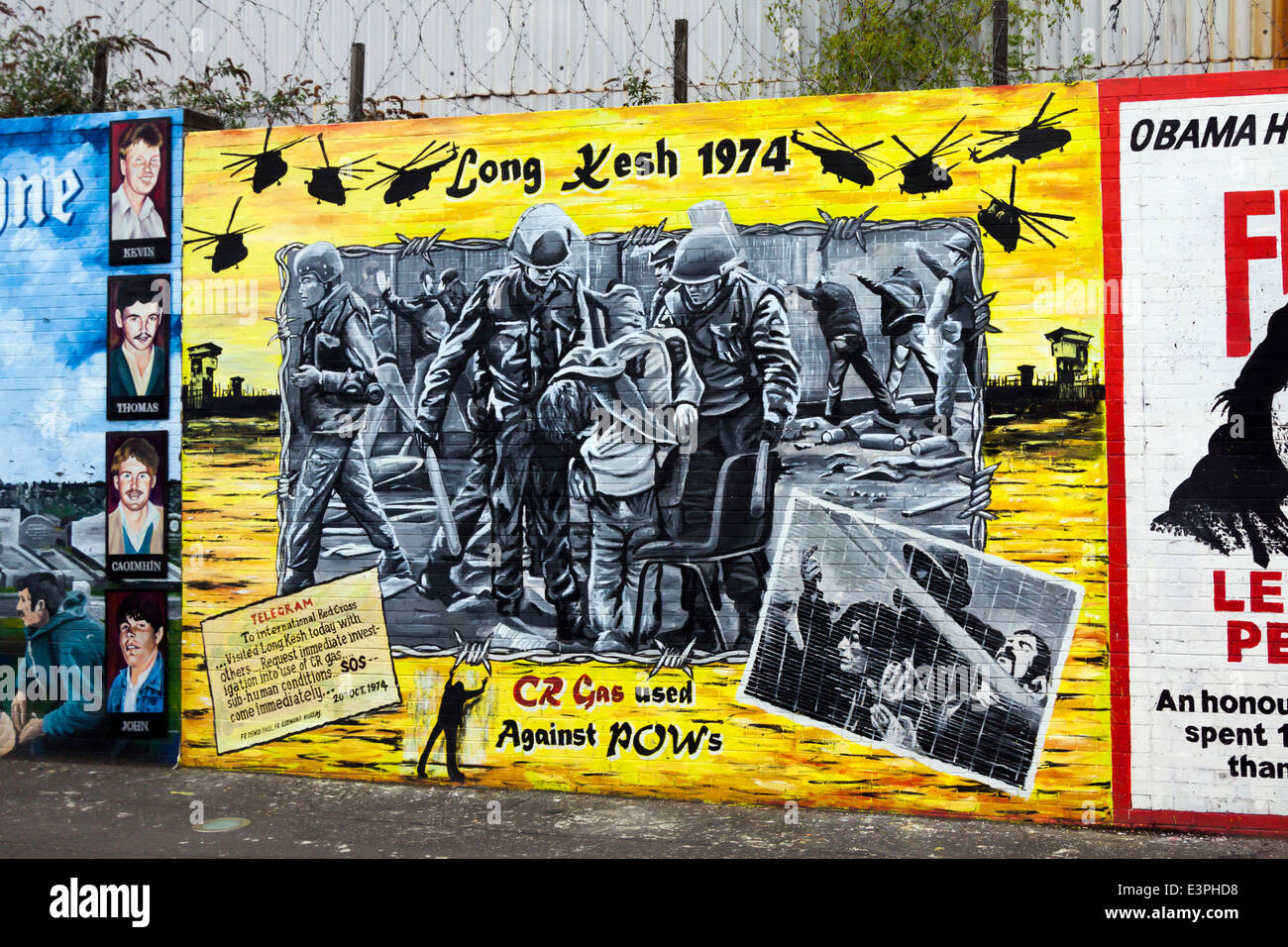 Political mural of Long Kesh Prison, Falls Road, West Belfast, County Antrim, Northern Ireland, United Kingdom. Stock Photo
