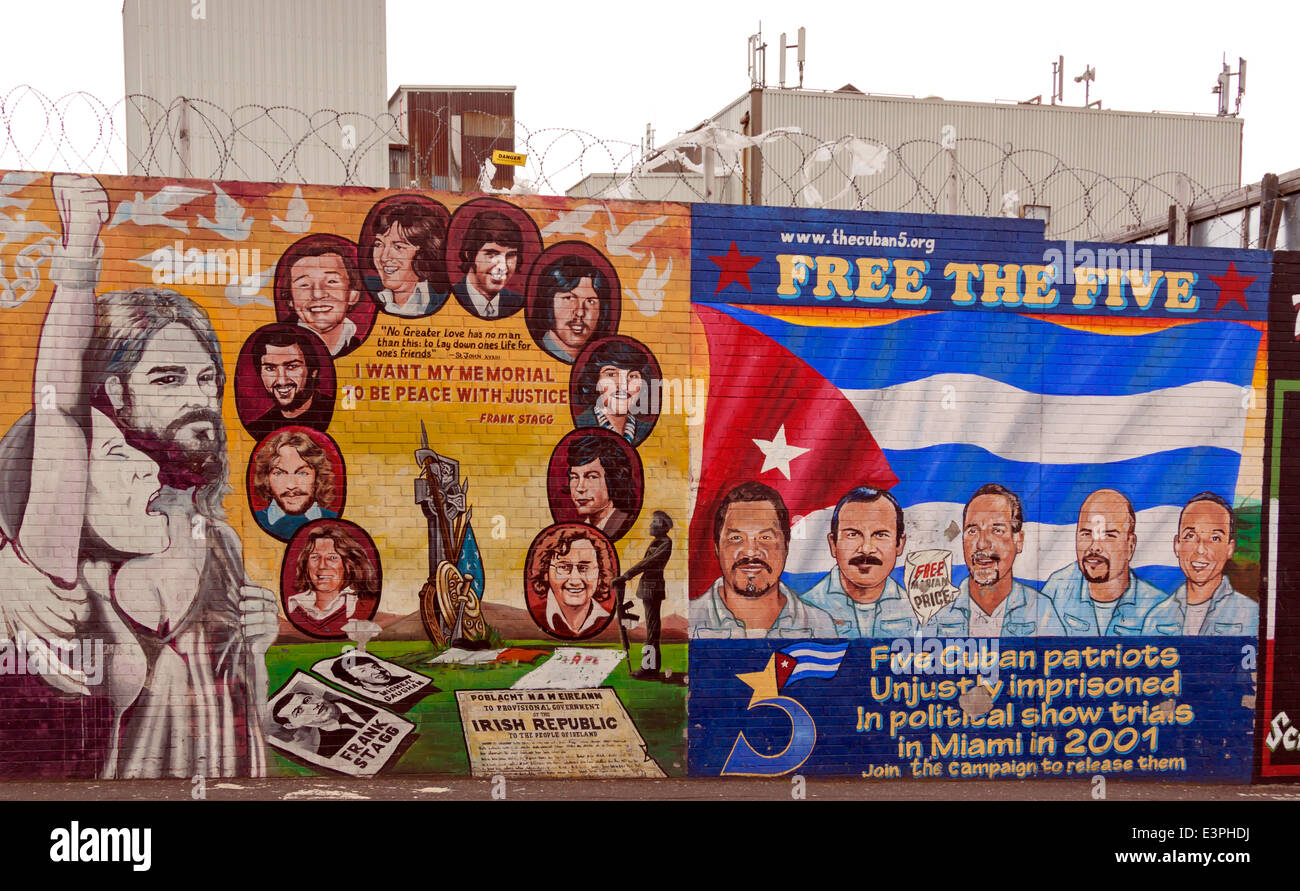 Political mural of the hunger-striker Frank Staff, Falls Road, West Belfast, County Antrim, Northern Ireland, United - Stock Image