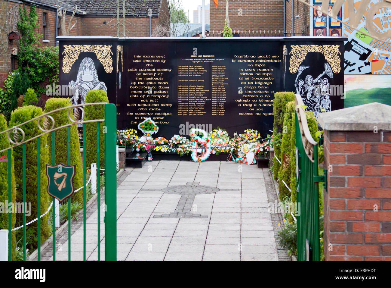 Falls Road, West Belfast, Northern Ireland:  Remembrance Garden to commemorate IRA volunteers who 'made the - Stock Image