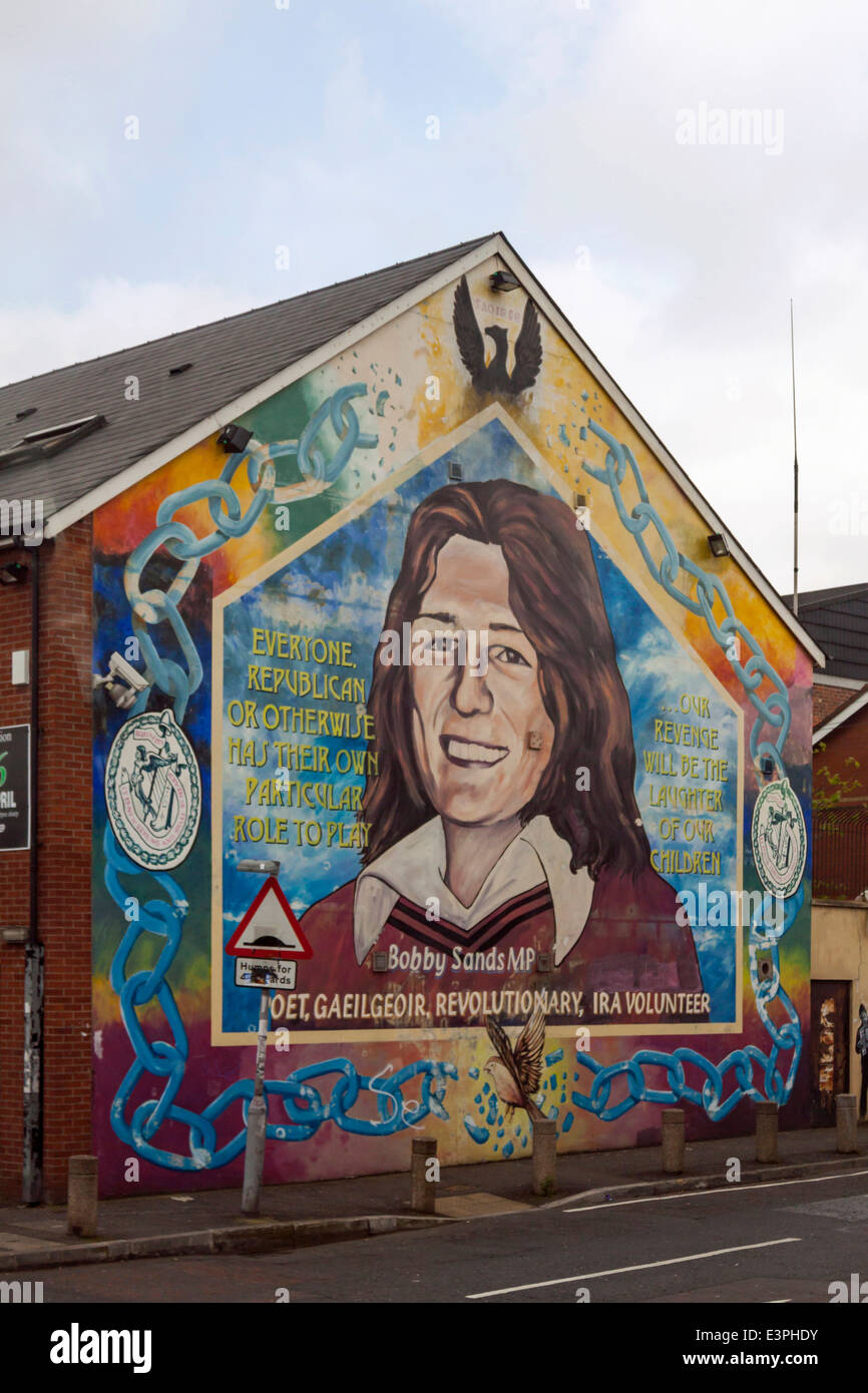 Mural of the hunger-striker Bobby Sands on Falls Road, West Belfast, County Antrim, Northern Ireland, United Kingdom. - Stock Image