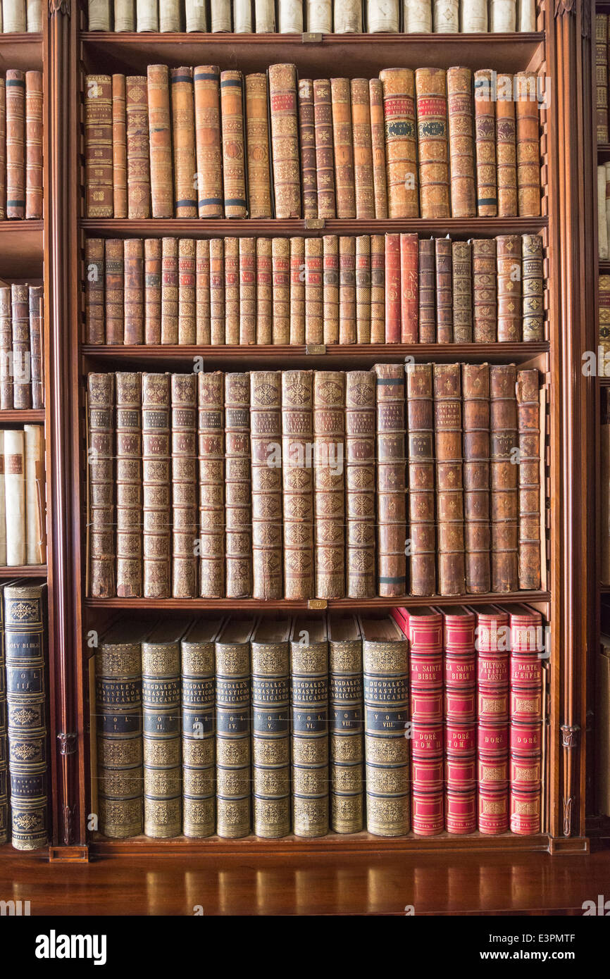 Antique books lined up and neatly displayed on bookshelves in library at Tatton Park, Cheshire, UK - Stock Image