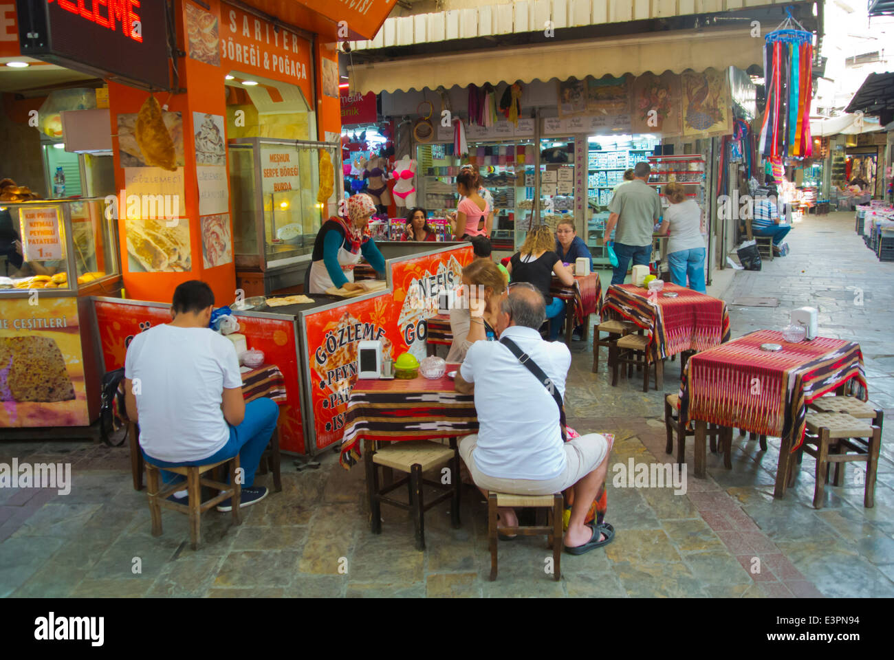 Tea room terrace, Kemeralti bazaar district, central, Izmir, Turkey, Asia Minor - Stock Image