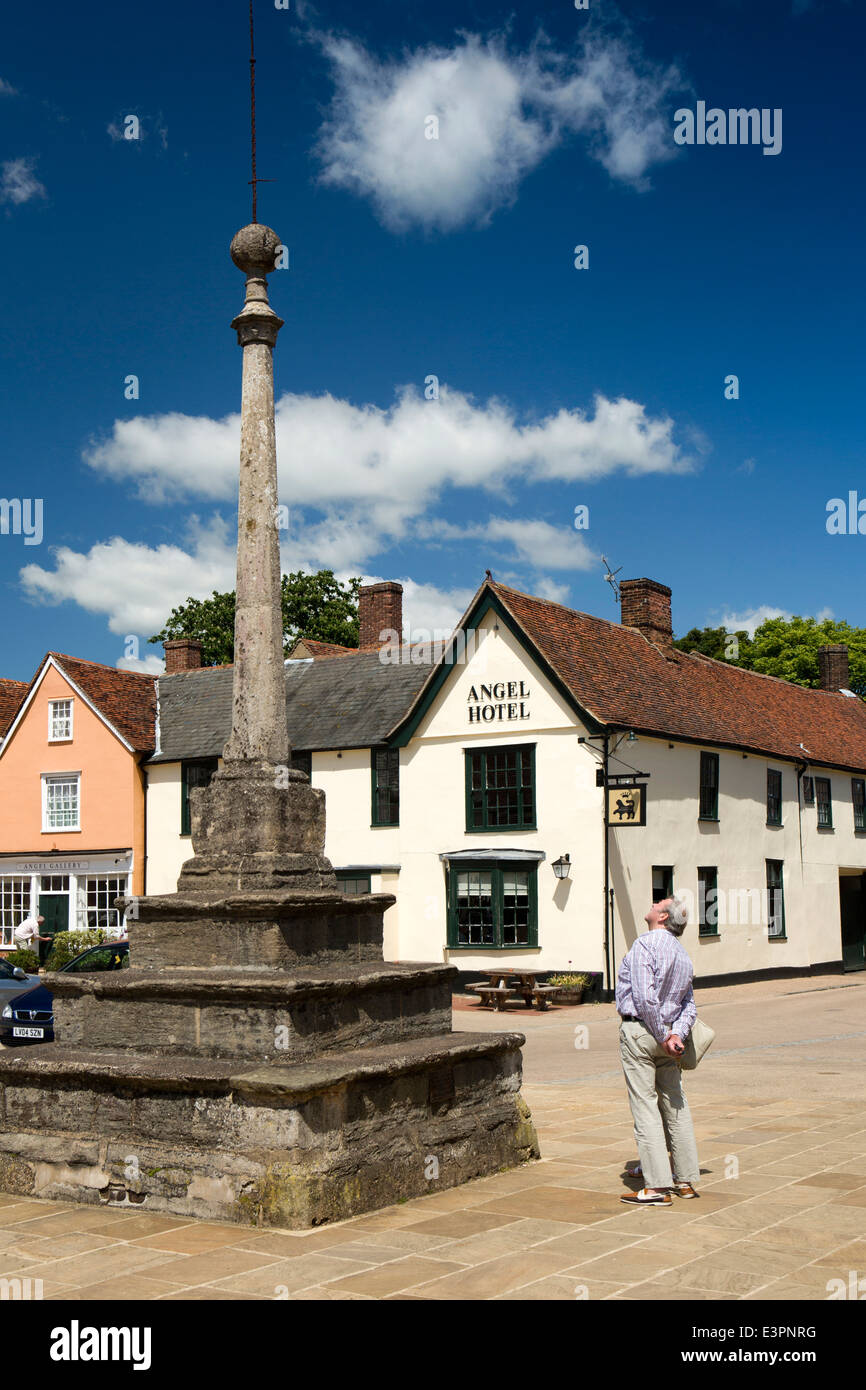 UK England, Suffolk, Lavenham, Market Square, cross and Marco Pierre White's Angel Hotel - Stock Image