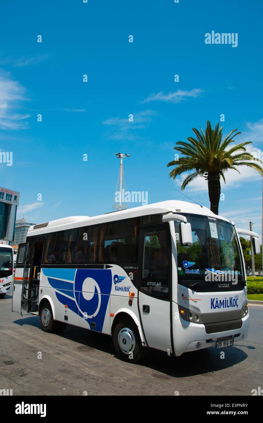 Kamil Koc company servis free minibus to bus station, 9 Eulül Myd square, central Izmir, Turkey, Asia Minor - Stock Image