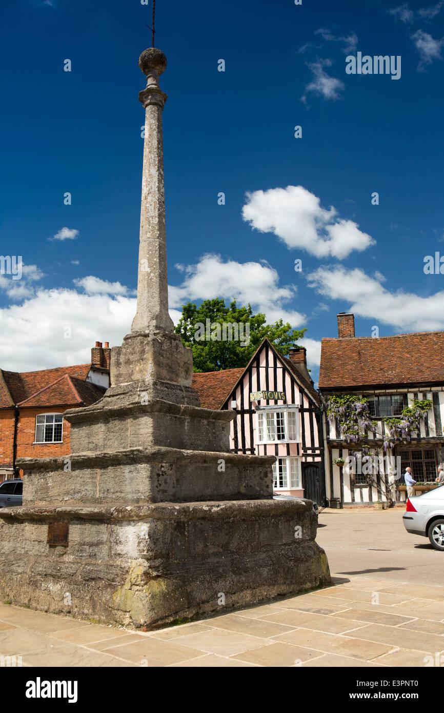 UK England, Suffolk, Lavenham, Market Square, the 1500 Market Cross with later 1725 shaft Stock Photo
