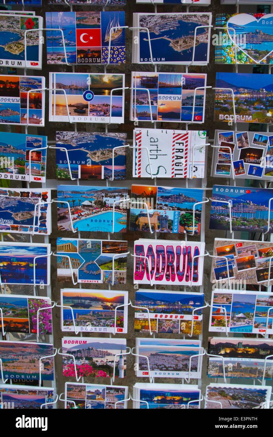 Postcards, Bazaar area, Bodrum, Turkey, Asia Minor - Stock Image