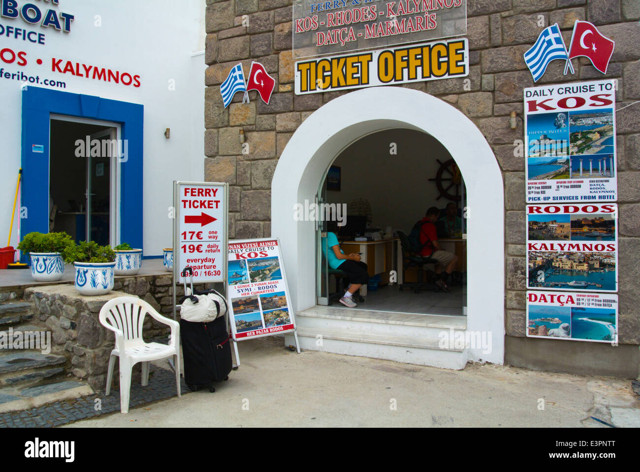 Office for ferry tickets to Kos and other Greek islands, the passenger port, Bodrum, Turkey, Asia Minor - Stock Image