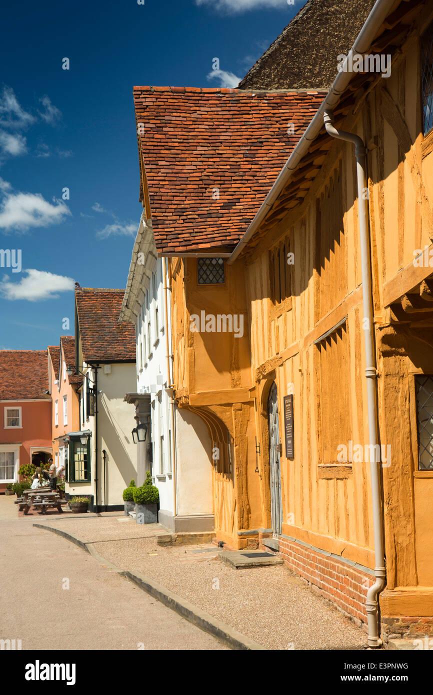 UK England, Suffolk, Lavenham, Market Square, C15th Little Hall - Stock Image