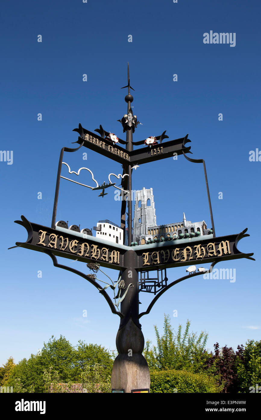 UK England, Suffolk, Lavenham, High Street, 2007 village sign commemorating Market Charter - Stock Image