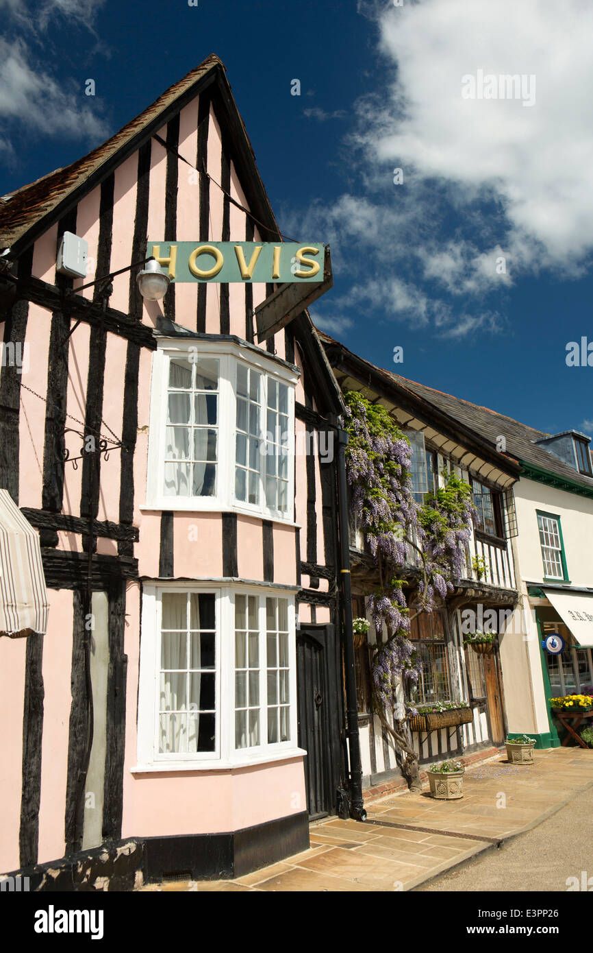 UK England, Suffolk, Lavenham, Market Square, Hovis sign on Sparking and Faiers bakery shop - Stock Image
