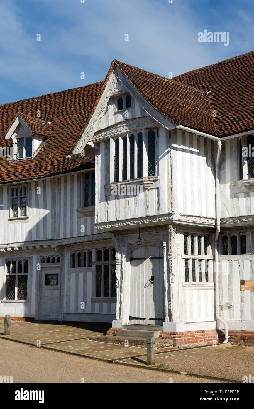 UK England, Suffolk, Lavenham, Market Square, Guildhall of Corpus Christi - Stock Image