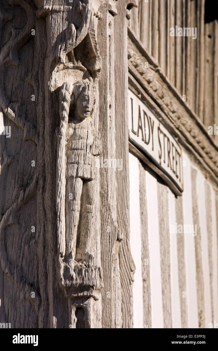 UK England, Suffolk, Lavenham, Market Square, Guildhall of Corpus Christi carved king post - Stock Image