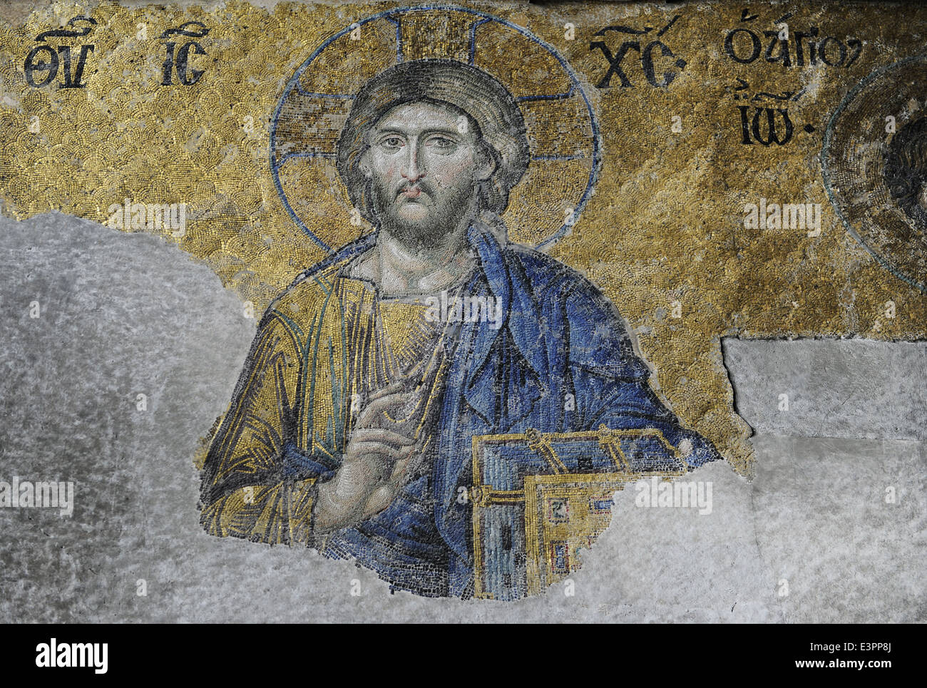 Hagia Sophia. Mosaic of the Deesis. Detail of Christ in Majesty. 13th century. Istanbul. Turkey. Stock Photo