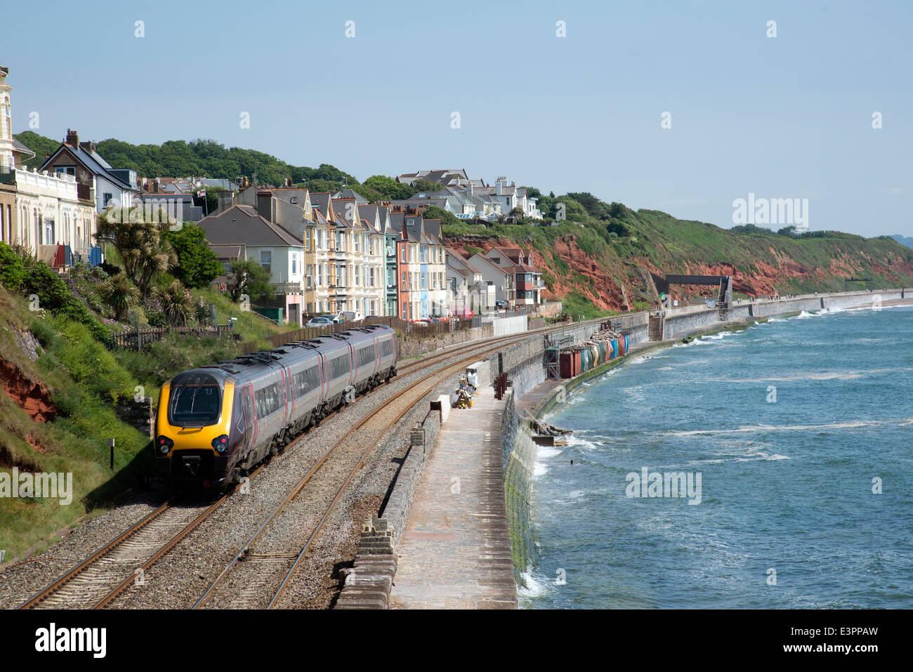 Cross country service passenger train at Dawlish Devon UK Stock Photo