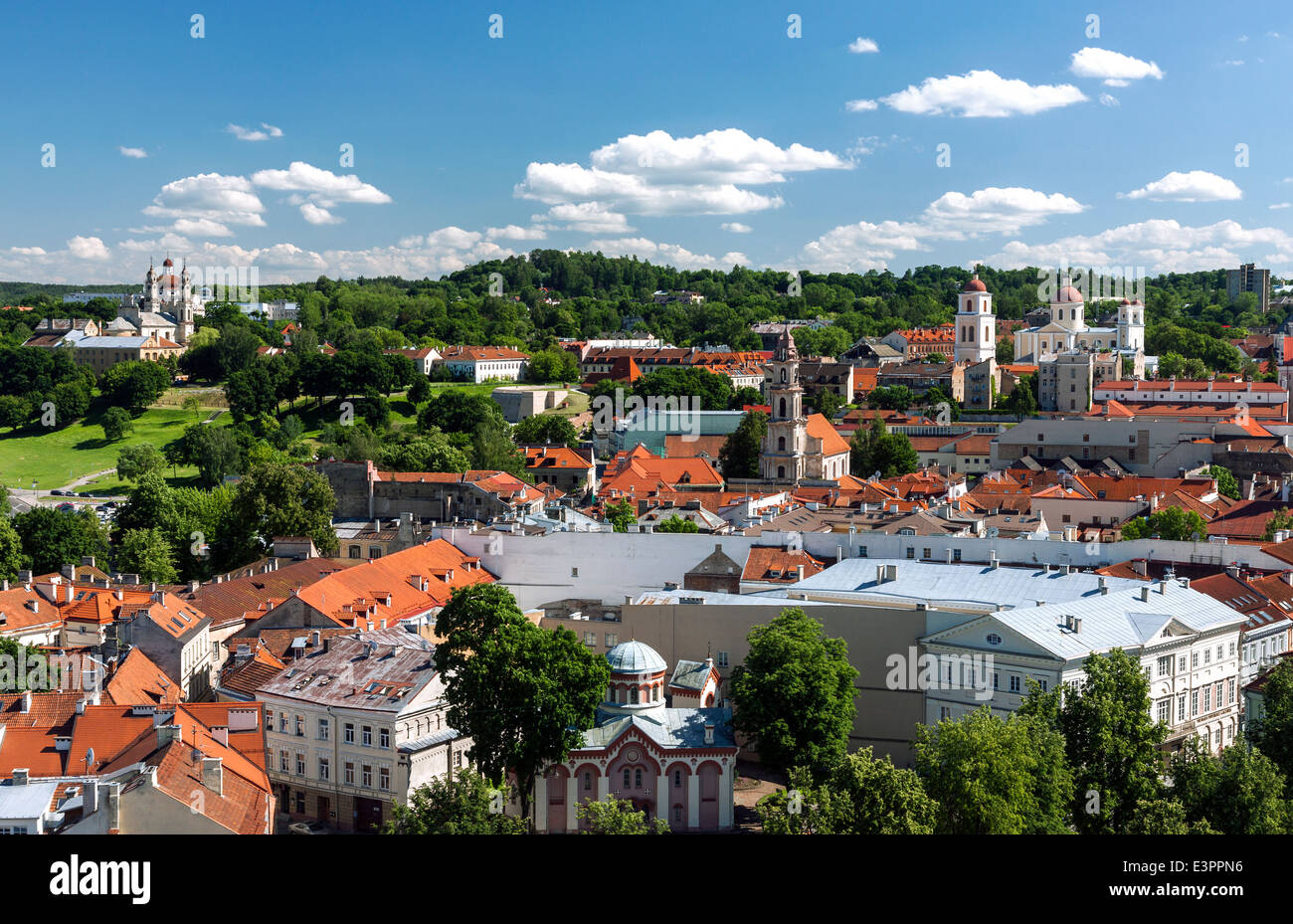 View of Vilnius old town on summer day - Stock Image