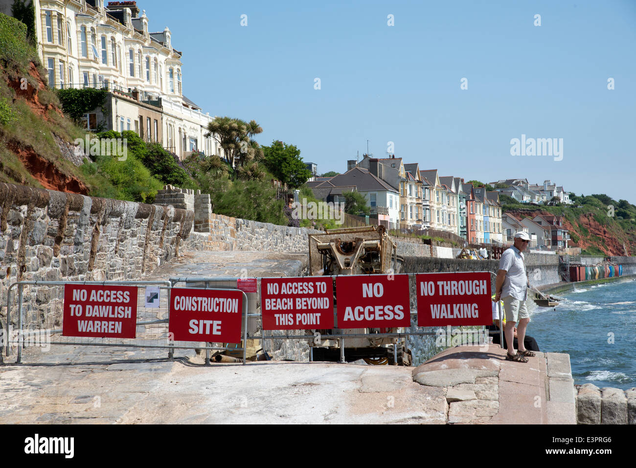 Rebuilding seawall at Dawlish Devon UK No Access signs on the seafront June 2014 - Stock Image