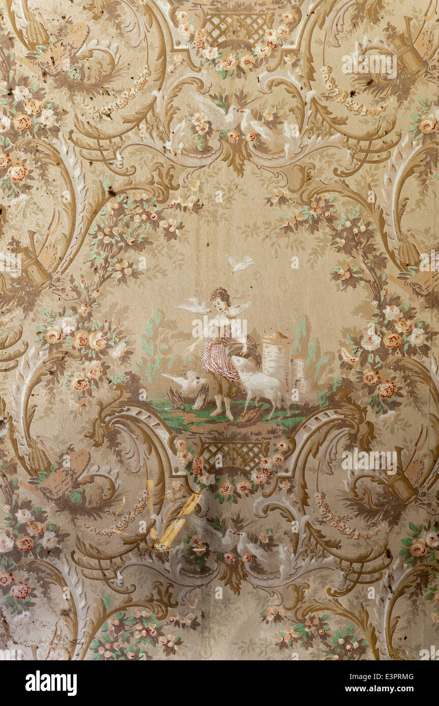 Detail of pastoral scene on old wallpaper - Stock Image