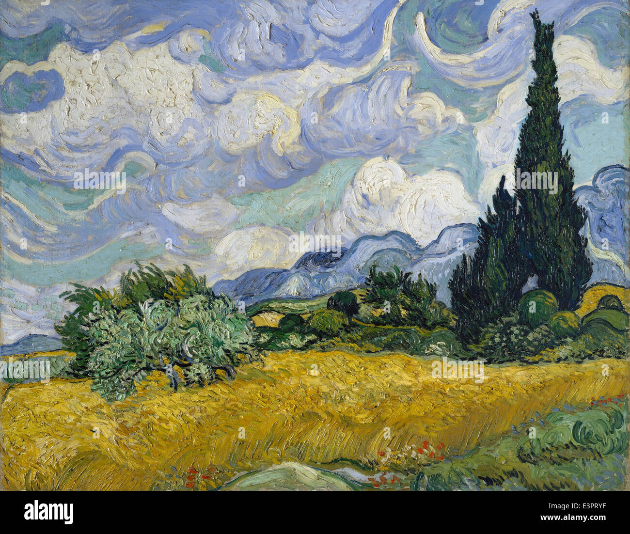 Vincent van Gogh - Wheat Field with Cypresses - 1889 - MET Museum - New-York - Stock Image