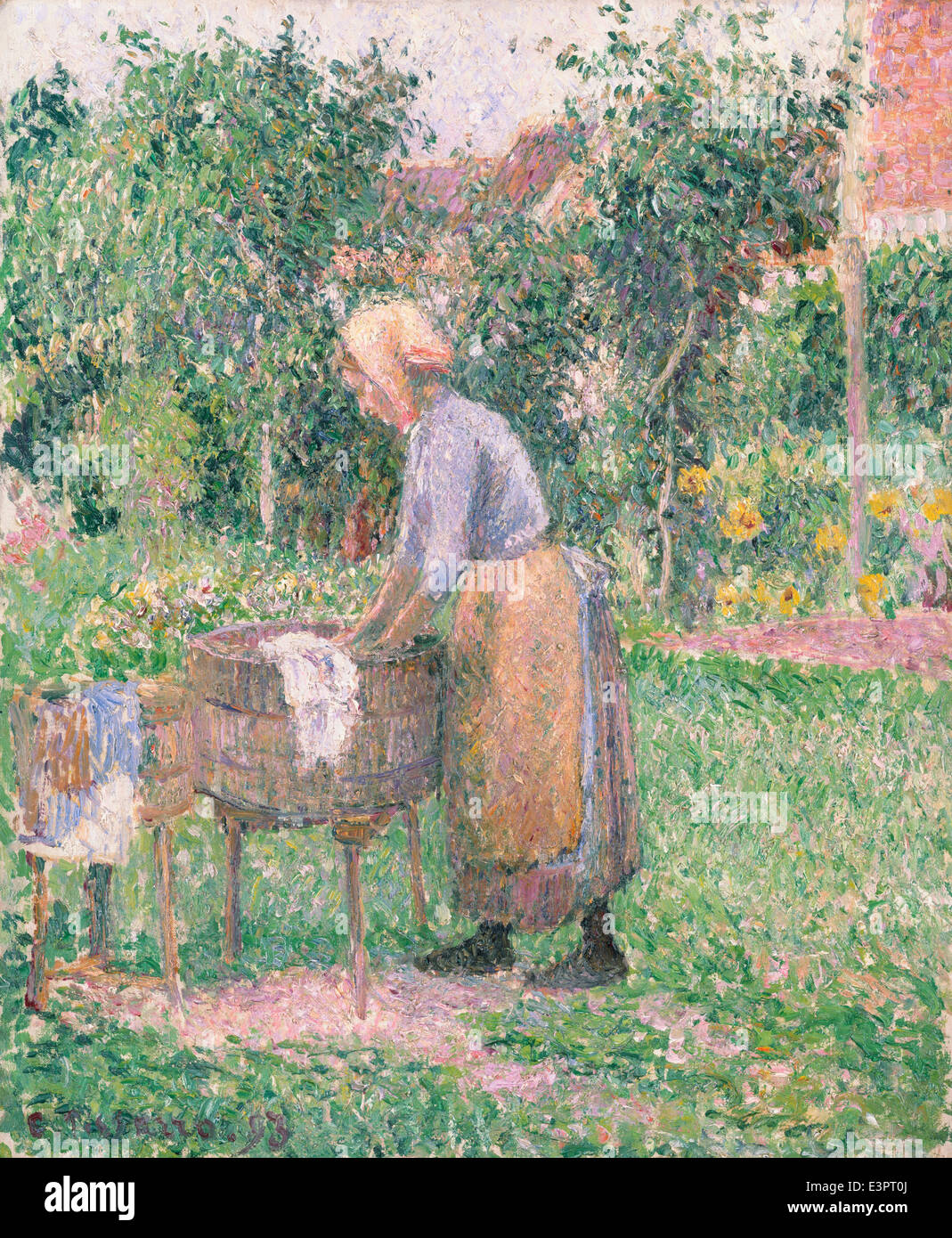 Camille Pissarro - A Washerwoman at Éragny - 1893 - Stock Image