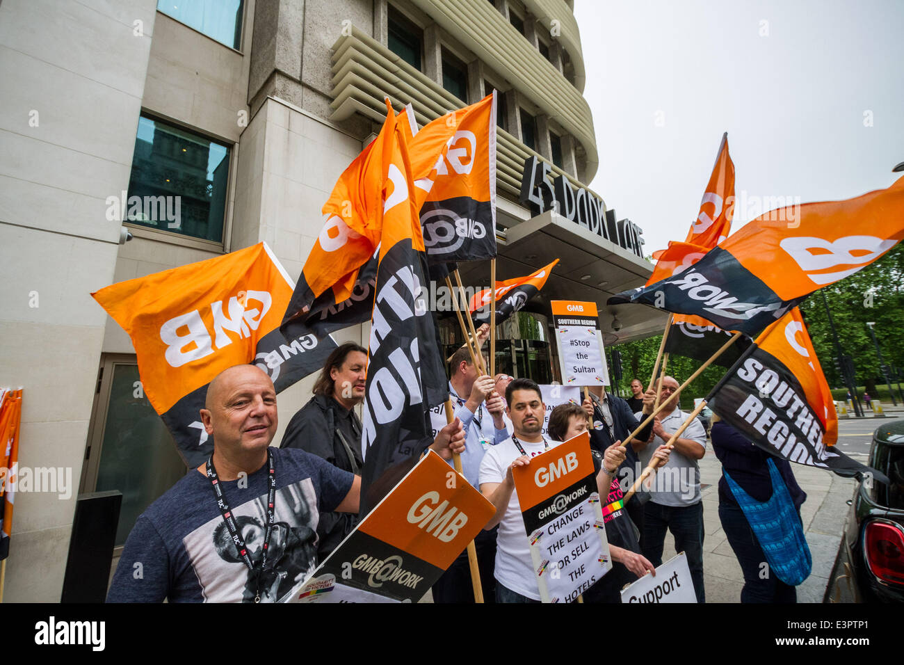 London, UK. 27th June, 2014. GMB and LGBT protest outside Park Lane hotel in London over homophobic laws Credit: - Stock Image