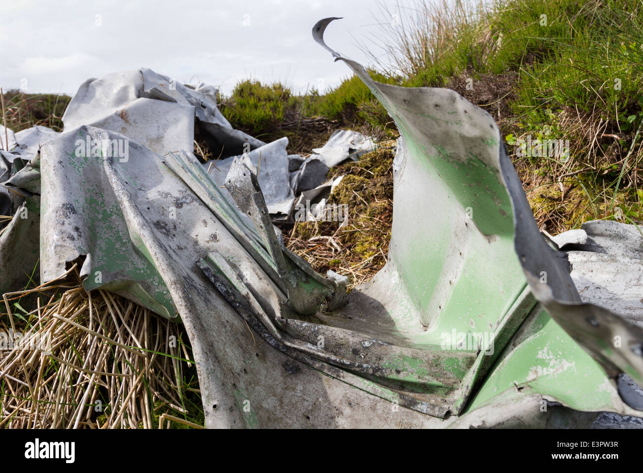 Remains of a Blenheim Mk1, L1252 Aircraft Which Crashed in Bad Weather on 26th October 1938 Lunedale, County Durham. Stock Photo