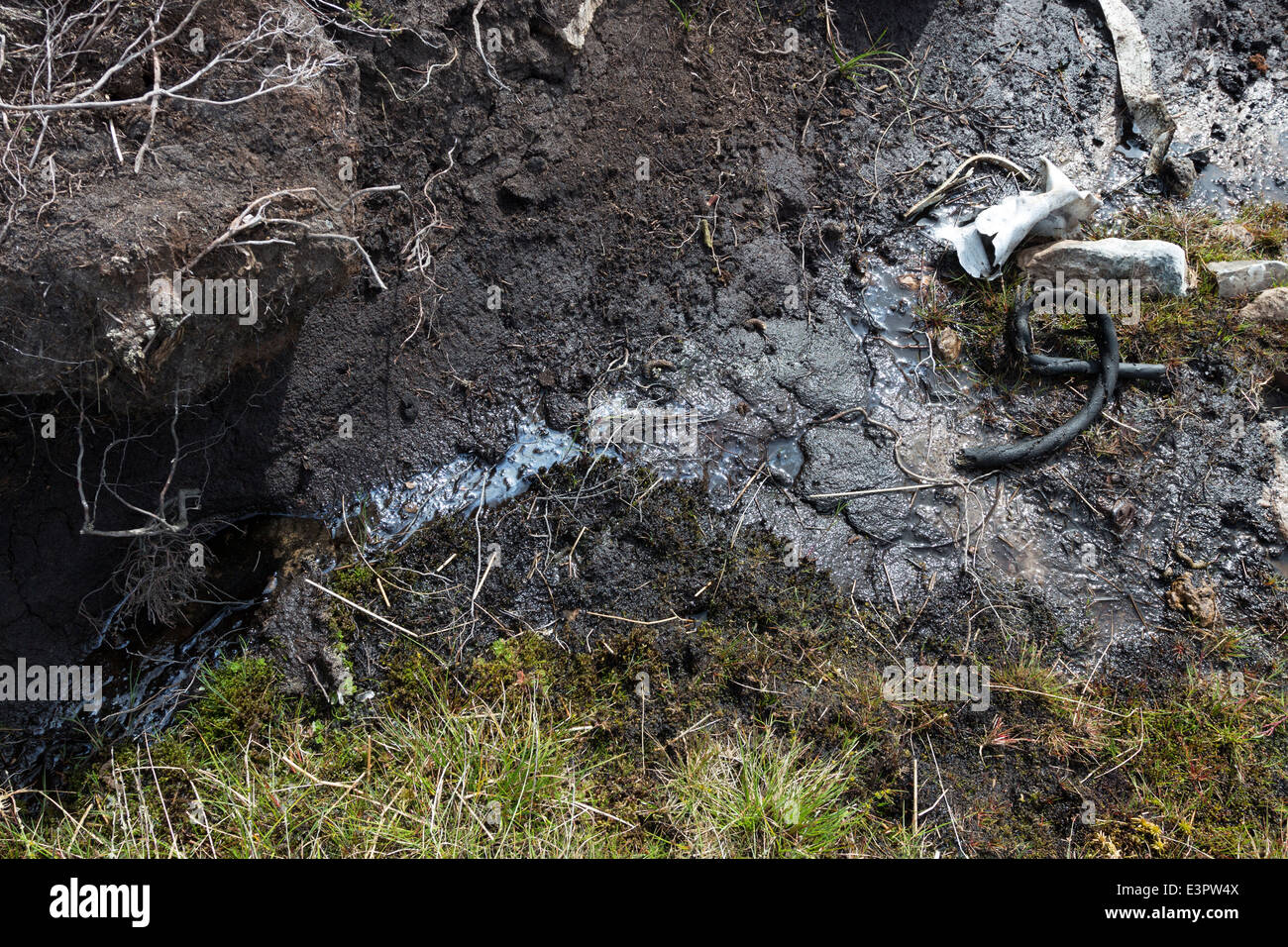 Pollution Leaching Out of the Peat at the Crash Site of a Blenheim Aircraft Which Crashed Here in 1938. Lunedale Stock Photo