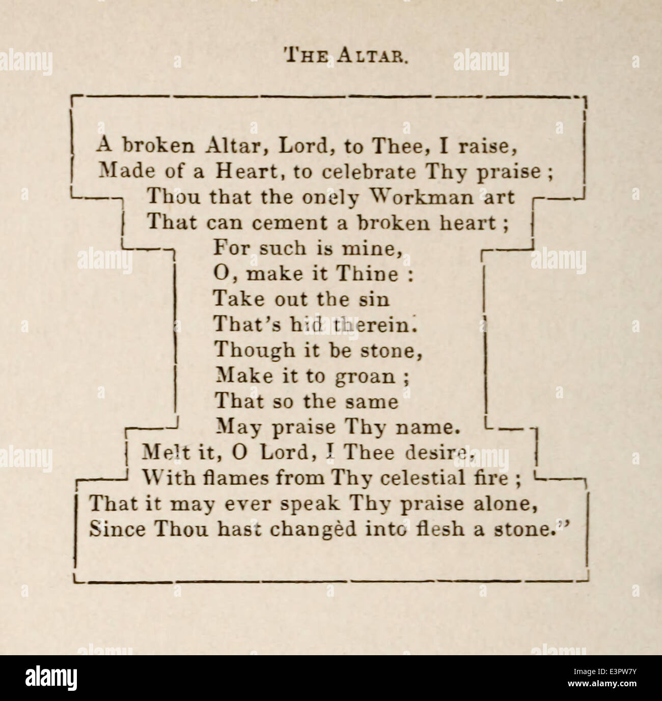 George Herbert (1593-1633) poem 'The Altar' first published in 'The Temple' in 1633. - Stock Image