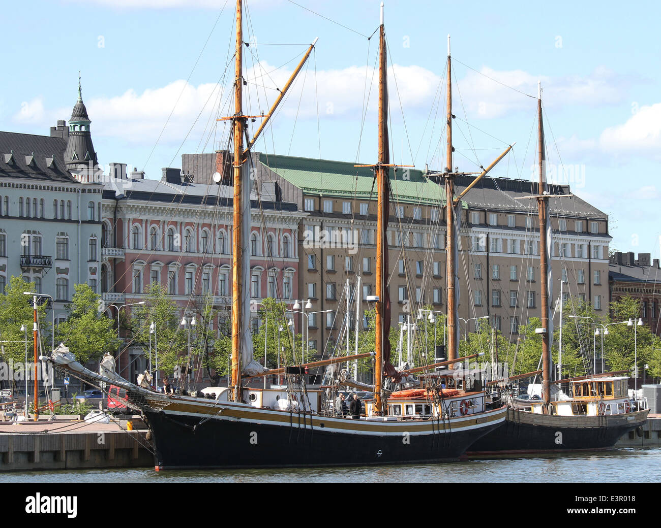 Sailing ships berthed alongside Pohjoisranta at the North Harbour Helsinki Finland - Stock Image