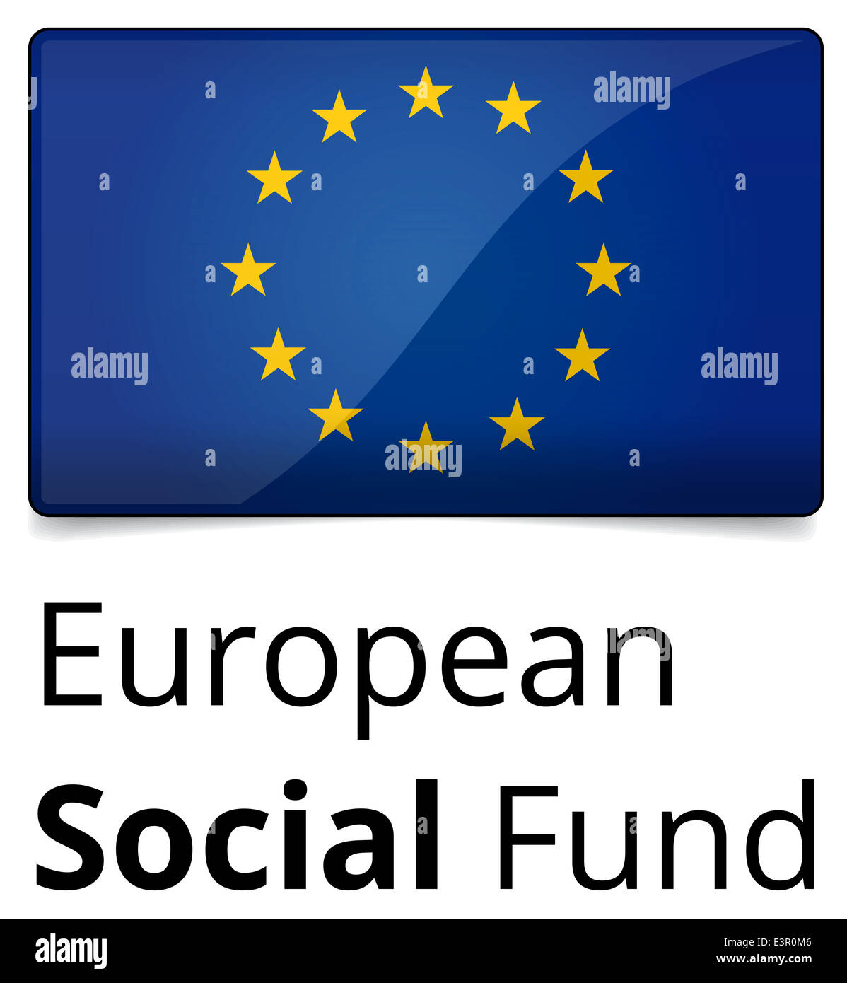 European Social Fund - glossy design with EU flag, text and shadow on white background Stock Photo