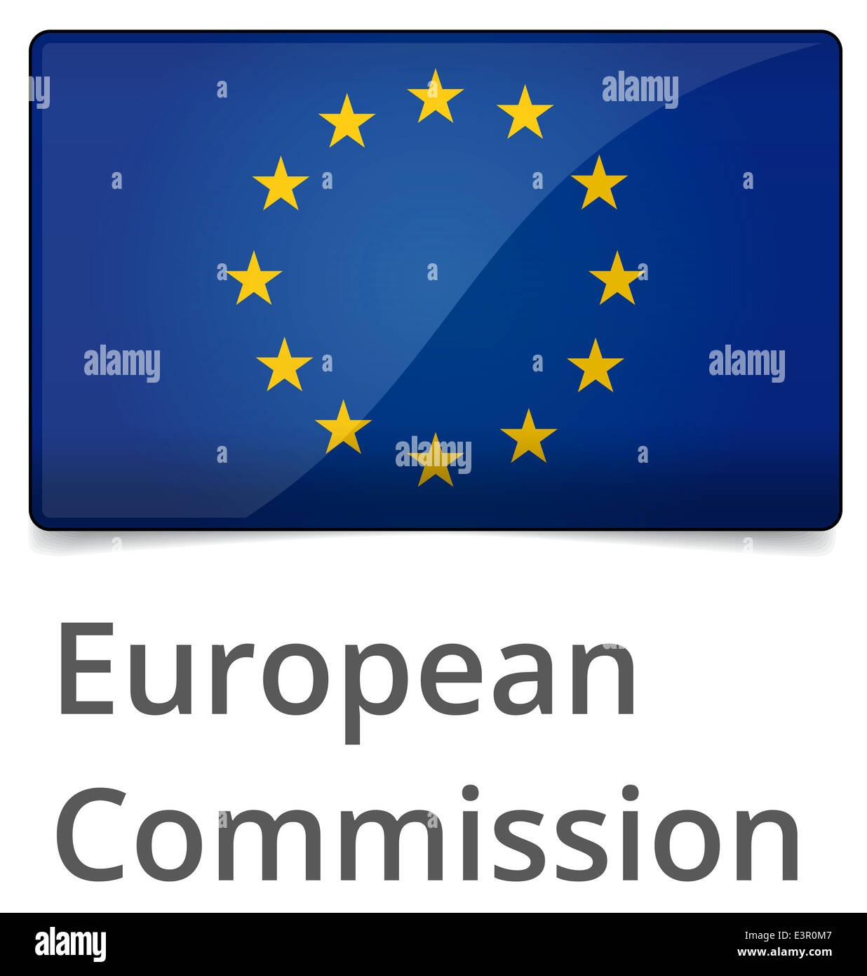 European Commission standard proportional sign - glossy design with shadow on white background - Stock Image