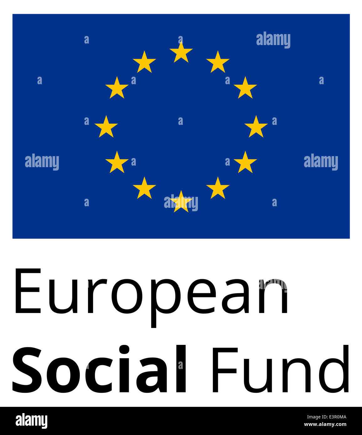 European Social Fund - standard and proprtional sign with EU flag and text - flat design on white background - Stock Image