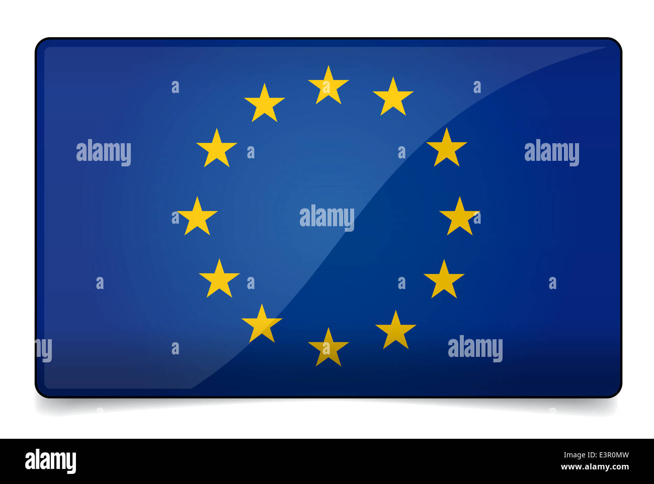 Europe flag correctly and proportional with round corner, glossy design and shadow on white background - Stock Image