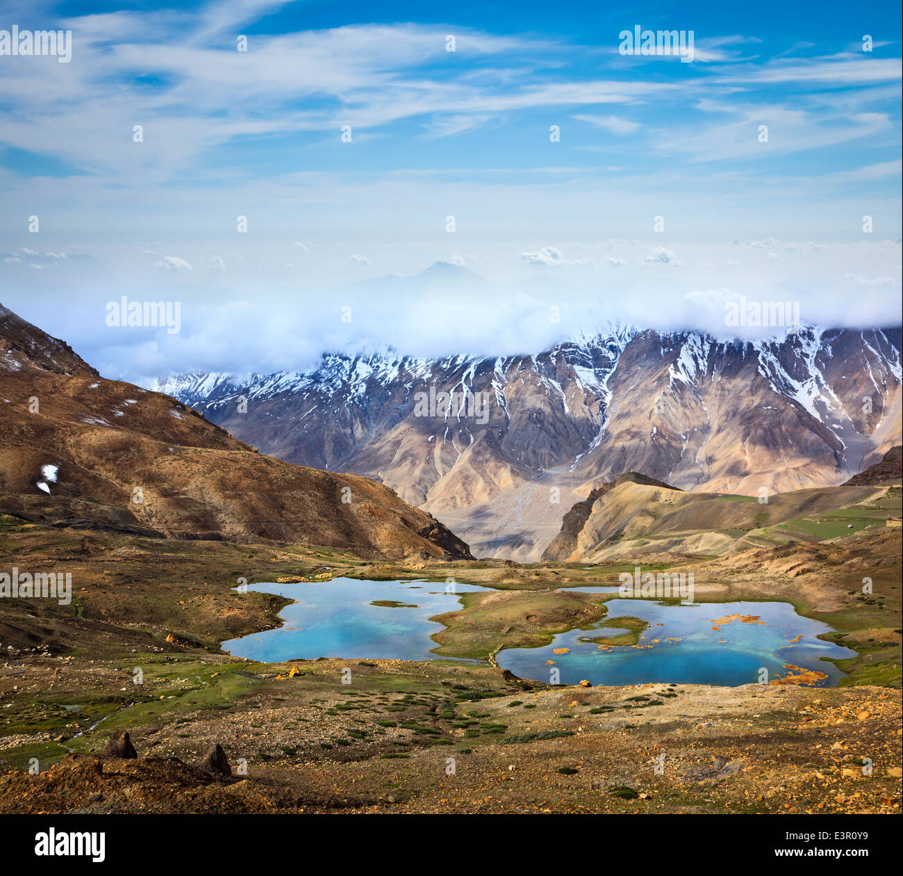 Mountain lakes in Spiti Valley in Himalayas. Himachal Pradesh, India - Stock Image