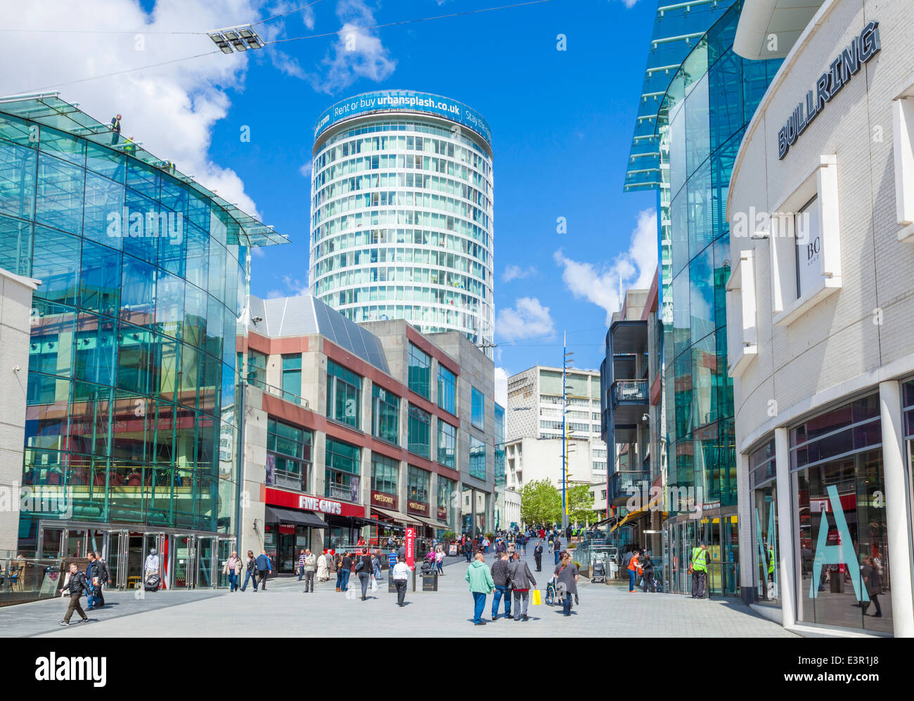 Rotunda and Birmingham Bullring shopping centre, Birmingham City Centre, Birmingham, West Midlands, England, UK, - Stock Image