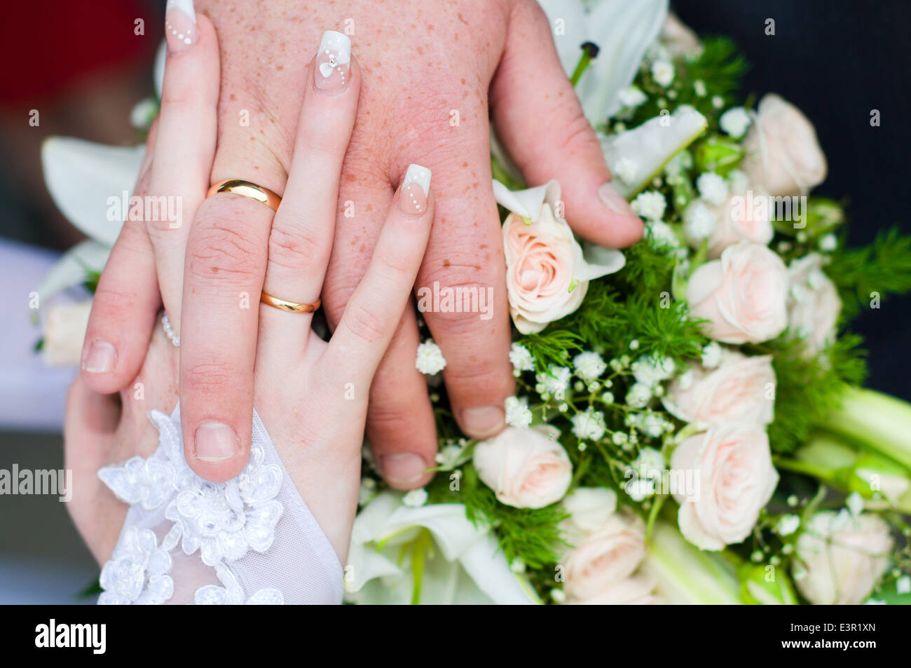 Bride Groom Show Wedding Rings Stock Photos & Bride Groom Show ...