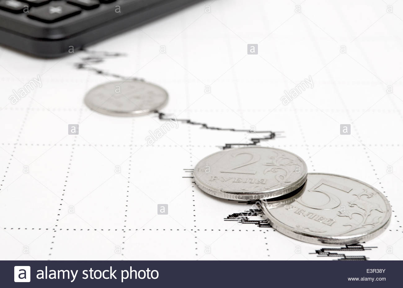 Decline in yield and general condition of the economy. - Stock Image