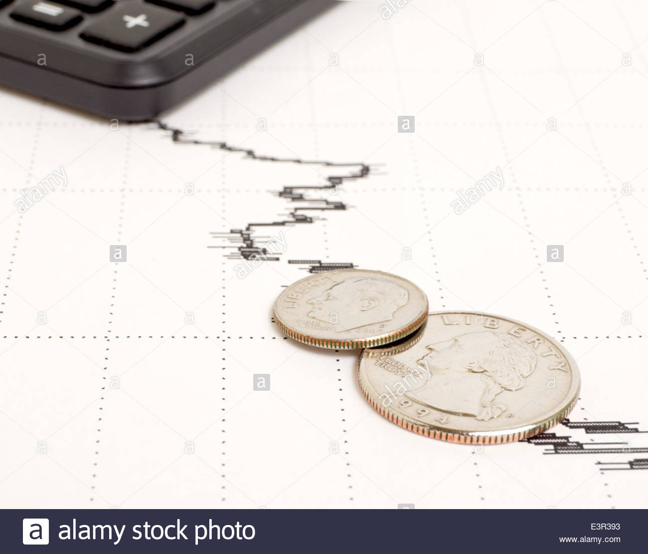 Decline in yield and general condition of the economy. Stock Photo