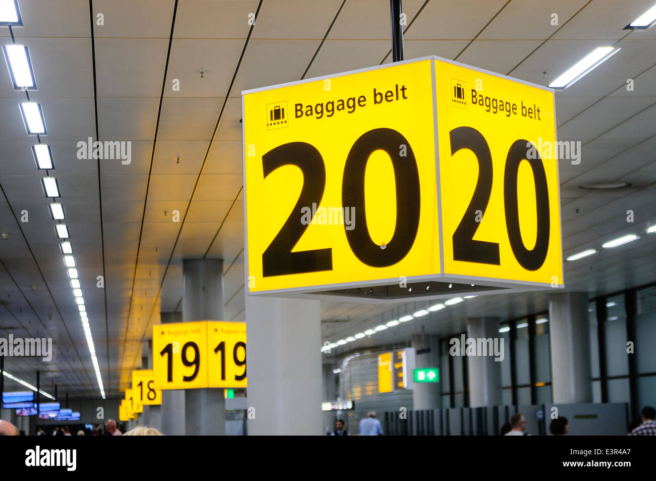 Row of baggage belts at Schiphol Airport - Stock Image