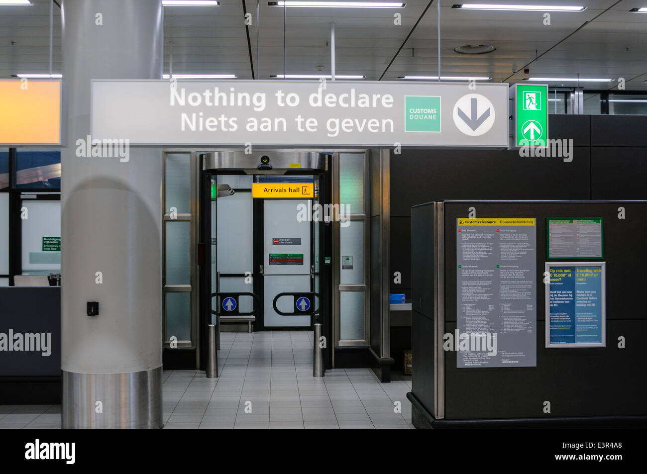 'Nothing to Declare' customs channel at Schiphol Airport - Stock Image