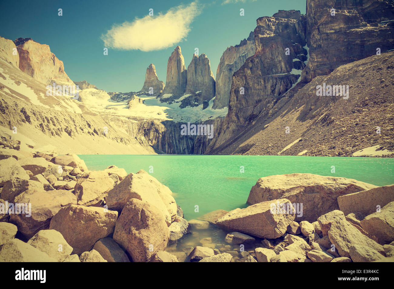 Torres del Paine mountains and lake in Chile, Patagonia, vintage retro filter. - Stock Image