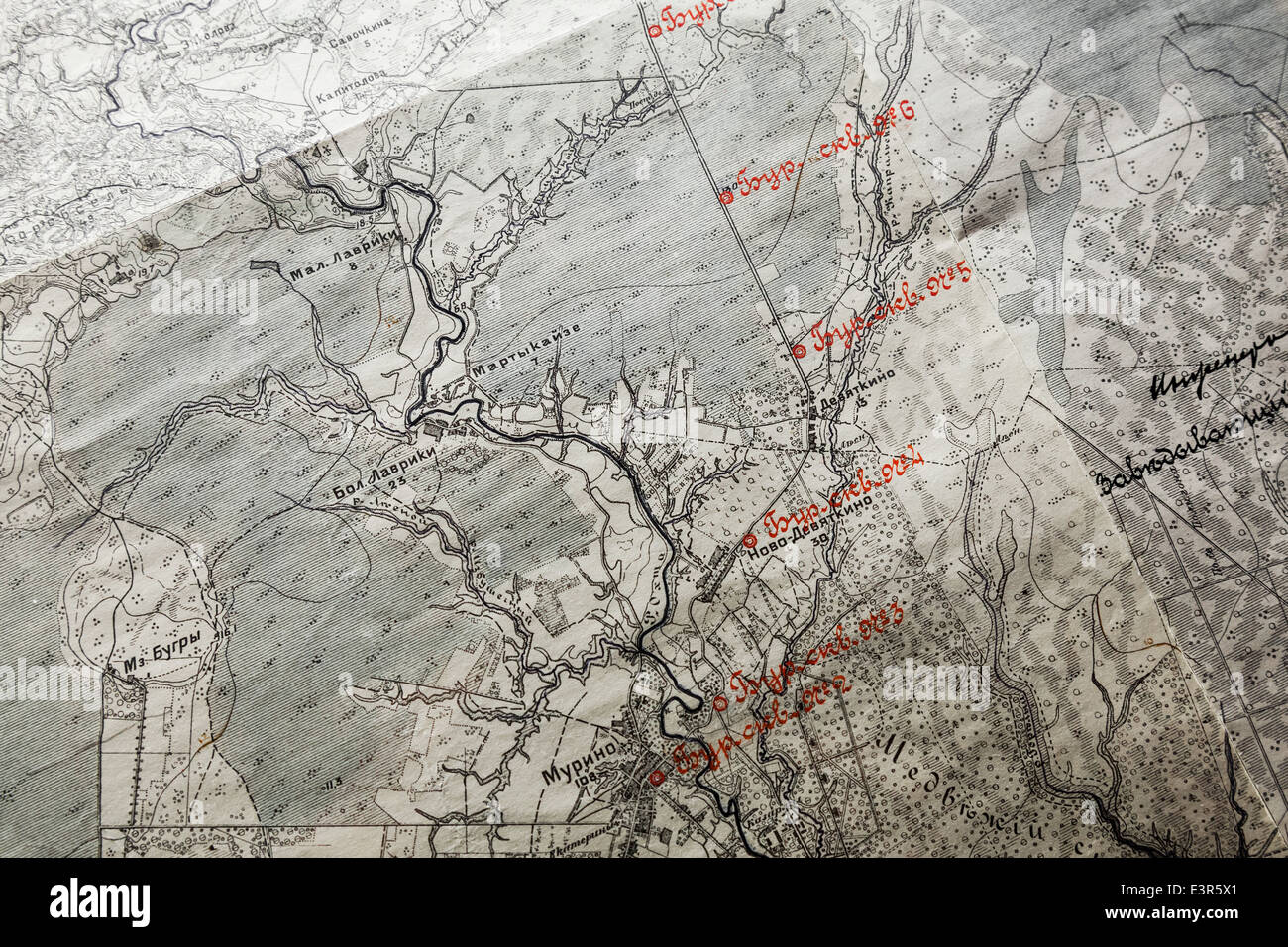 Russian Ancient map fragment with red labels Stock Photo