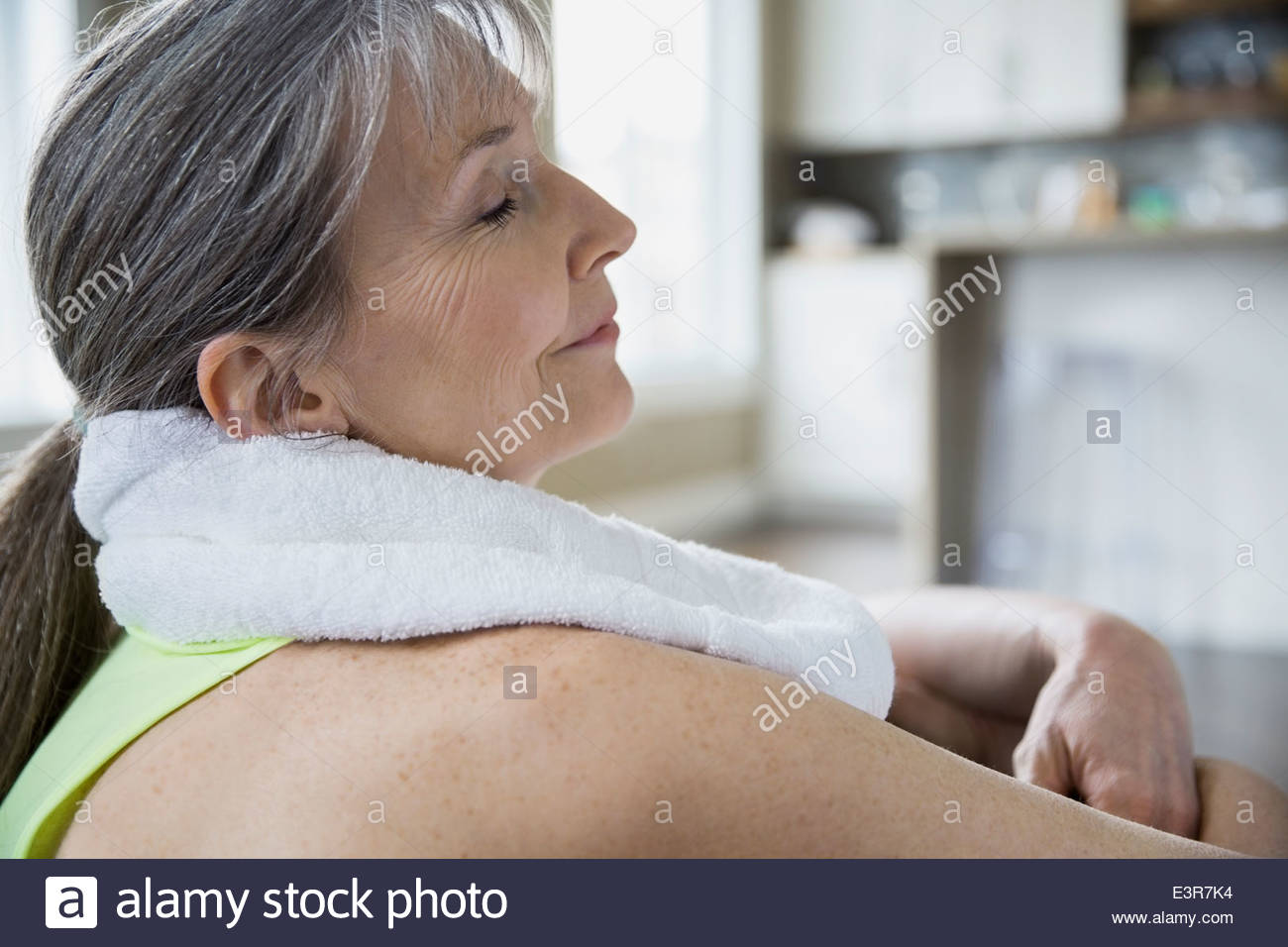Close up of relaxed woman Stock Photo